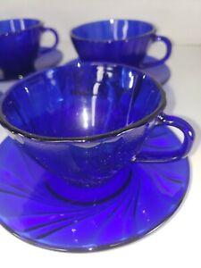 Duralex Rivage Cup & Saucer Set of (8) Cobalt Blue Scalloped Swirl Vintage