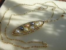 Lange Goldkette mit Perlen, kunstvoll verdrahtet, vergoldet, Muschelkern Perlen