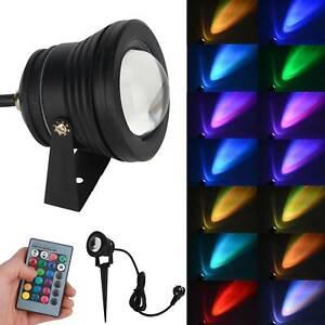 LED Gartenstrahler RGB Fluter m. Gummi Kabel, 230V, Erdspieß, Memory-Funktion