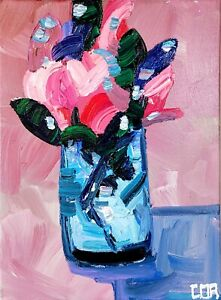 IMPRESSIONIST PAINTING FLOWER ACRYLIC ORIGINAL HOME INTERIOR FINE ART MODERNIST