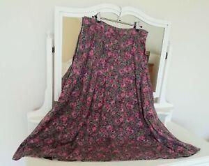 Vintage LAURA ASHLEY Pink Floral Wool Blend Skirt, UK 18