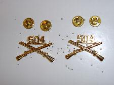 b1292p WW 2 US Army Airborne 504th Infantry Regiment Crossed Rifle pair R8C