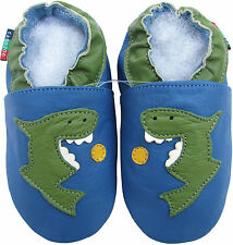 new soft sole leather baby shoes shark blue 0-6m S