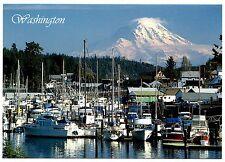 Washington State Fishing Harbor Postcard Boats Mount Rainier Snow Water New