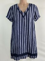 NEXT navy blue & grey stripe rustic linen mix loose fit shift dress size 12 40