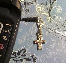 Rhinestone Cross Pink Clip Cell Phone Charm~Dust Plug Cover~Android~Free Ship