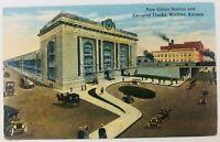 Vintage Wichita Kansas KS New Union Station and Elevated Tracks Postcard
