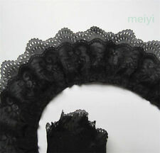 1 yard 3-layer Pleated Organza Lace Edge Trim Gathered Mesh Chiffon Ribbon Black