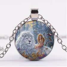 NEW Cabochon Glass necklace Silver/Bronze/Black pendant(Fairy and lion)