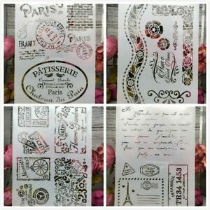 A4 Paris Stamps DIY Layering Stencils Wall Painting Scrapbook Coloring Embossing