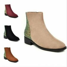 Ladies Womens Patchwork Pattern Flat Low Chelsea Ankle Boots Chunky Shoes 34-46