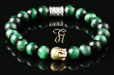 Tiger Eye Green Shiny Bracelet Pearl Bracelet Buddha Head Gold 0 5/16in