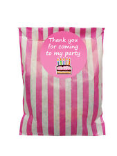 Pink & white paper Party Bags & 60mm COMPLEANNO TORTA ADESIVI - 24 di ciascun in PACK