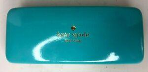 """Kate Spade 6"""" Eye Glass Case Turquoise Green Hardshell Eyes Inside Design"""