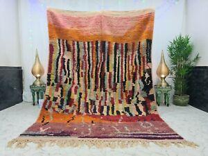 """Moroccan Boujaad Handmade Vintage Rug6'3""""x9'2""""Berber Patchwork Colorful Wool Rug"""