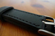 19mm black leather watch strap - completely handmade to order.