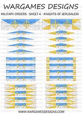 28 mm Chevaliers de Jérusalem drapeaux-Feuille 4-lion rampant, brouillard, DBA, Ave César