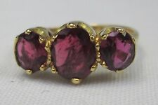 Antique Victorian 18ct Gold Natural Ruby 3 Stone Ring 2 CT Hallmarked Size M