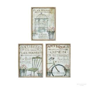 Shabby Chic Set of 3 Country-Style 'Flea Market' Canvas Prints with Wooden Frame