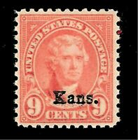 US  Sc# 667 - 9 c - Light Rose   Kansas Overprint - Mint NH - Crisp Color