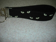 Key Ring Fob - Cats Eye's on Black Cotton Webbing - Wristlet Style - NEW!