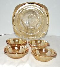 Jeannette Glass Floragold Square Serving Bowl & 4 Berry Bowls Louisa Gold 1950s