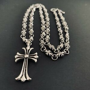 Chrome Hearts STYLE Cross Pendant & Cross Link Decorated Chain
