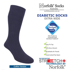 2 x Norfolk Cotton Diabetic Socks, Extra-Wide Soft Top, 'Actifresh' - Joseph