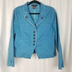 Bandalino jacket womens denim size 12 teal blue button close pockets distressed