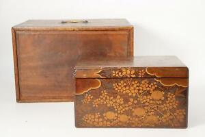 Japanese Antique wooden Gold Makie box Meiji era Autumn grass pattern WBX60