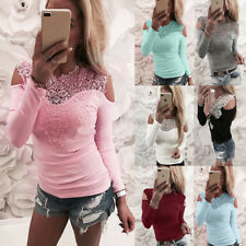 UK Womens Cold Shoulder Lace Casual T-Shirt Ladies Long Sleeve Tops Blouse 6-20