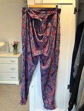 OYSHA PINK BLUE PAISLEY FLORAL LIGHT LOOSE SUMMER TROUSERS WOMENS LARGE 12 14
