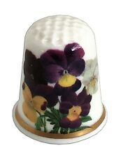 BN Personalised Pansy Fine Bone China Collectable Thimble, Birthday Gift