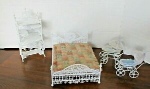 Doll House Furniture White Wire Wrought 4 Piece Set Vintage Real Metal