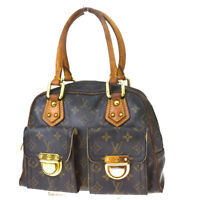Auth LOUIS VUITTON Manhattan PM Hand Bag Monogram Leather Brown M40026 32MF013