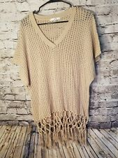 Cabi womens Sweater Small Style 292 Tan Hand Knotted Fringe BOHO t70