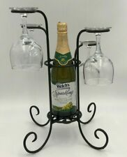 Tabletop Wine Bottle & Glass Stand Rack Caddy Holder Black Wrought Iron Amish