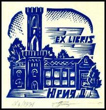 Leonenko Vasyl 1981 Exlibris X3 Bookplate Architecture 65