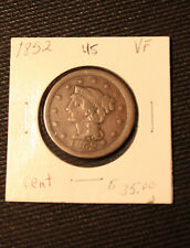 1852 Braided Hair Large Cent VF Very Fine