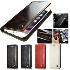 Business Mens Vintage Magnetic Flip Cover Stand Wallet Leather Case For Phone