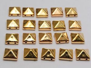 500 Gold Tone Metallic Rock Punk Square Pyramid Rivet Acrylic Stud Beads 10X10mm