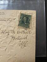 Antique RARE 1902 BEN FRANKLIN 1 Cent Green Stamp On Vintage Postcard New York