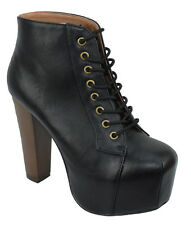 Speed 98 Women Ankle Boots Thick Heel Lace Up Booties Hidden Platform Black ROSA