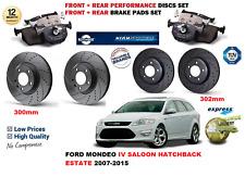 Pour Ford Mondeo MK4 2.2 TDCI Disques De Frein Et Plaquettes 2007-2015 avant /& arrière neuf *