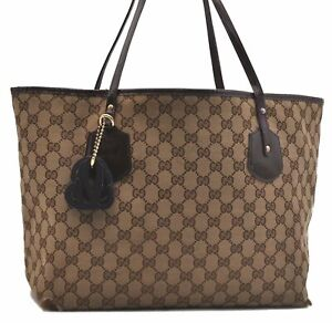 Authentic GUCCI Shoulder Tote Bag GG Canvas Enamel Brown Purple B4236
