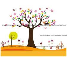 Owl Scroll Tree Butterflies Wall Stickers Flowers Birds Kids Nursery Art Decal