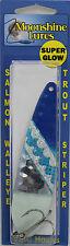 MOONSHINE LURES GLOW IN THE DARK HALF MOON TROLLING SPOON BLUE KNIGHT SILVER