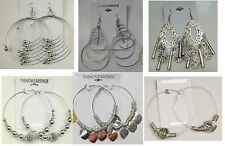 Wholesale lot 10 pairs  Big Fashion Dangle and Hoop Silver Plated  Earrings #A-7