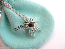 Tiffany & Co Silver Onyx Gemstone Fireworks Necklace Pendant 18 In Chain Rare