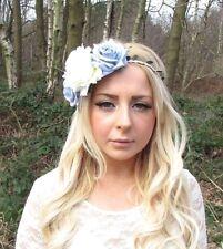 Large Light Blue Cream Rose Flower Garland Headband Hair Crown Bridesmaid 2532